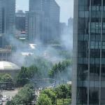 Bumbuspreinging frammanfyri sendistovuna hjá USA í Beijing