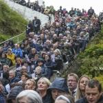 Myndir: Gudstænasta í gjónni við Gjógv