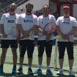 Føroyska tennislandsliðið. Frá vinstru Jón Brekku, Pætur M. Dahl, Pablo Merin og Annfinn Gaard