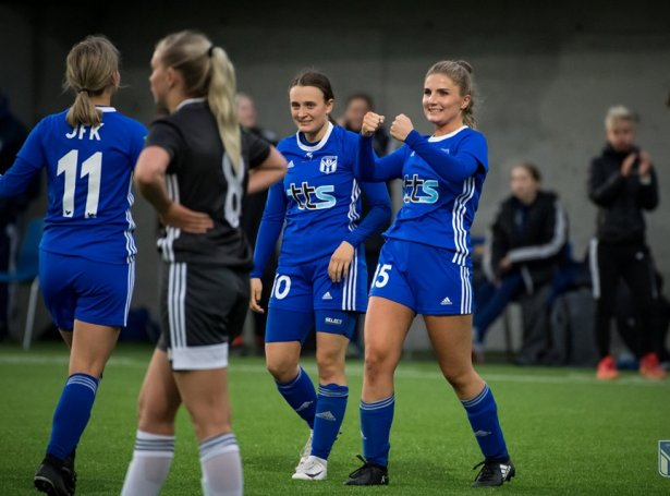 Maria Klakstein Thomsen staðfesti týdningarmikla sigurin hjá KÍ í gjárkvøldið - Mynd: Eybii Myndir