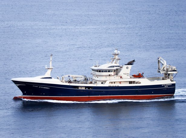 Gitte Henning, sum nú er partur av føroyska uppsjóvarflotanum, er eitt av skipunum, sum Henning Kjeldsen í Skagen hevur latið byggja (Savnsmynd: Kiran Jóanesarson)