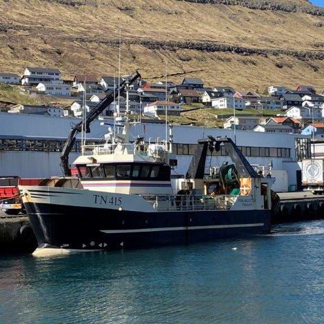 Fiskaklettur fylgdur til lands av Brimli