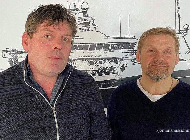 Torvald Thomsen og John Petersen, dekkarar á Gitte Henning 1 (Mynd: Føroyska Sjómansmissiónin)
