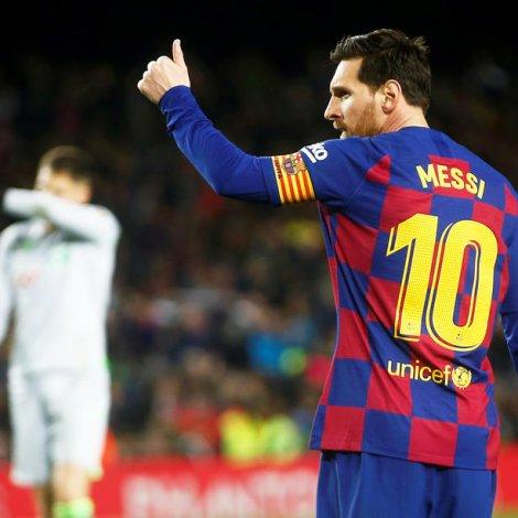 Lionel Messi skoraði eitt og legði upp til tvey mál í 4-0 sigrinum hjá Barcelona á Mallorca (Mynd: EPA)