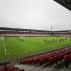 MCH Arena verður karmur um Danmark - Føroyar í kvøld. Samanlagt verða 500 fólk til staðar, skrivar DBU (Mynd: Sverri Egholm)
