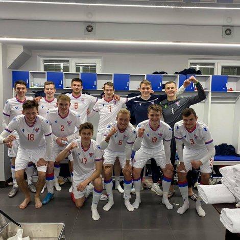 Teir leikararnir ið nú eru ov gamlir til U21 eftir 3-2 sigurin í Kasakstan (Mynd: FSF/Rúni Klein Joensen)