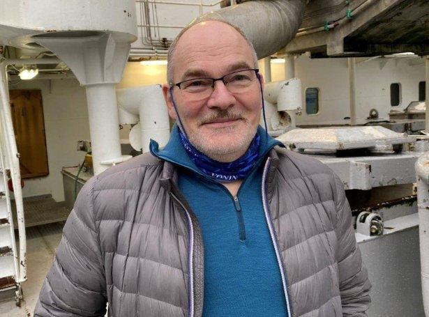 Páll Rasmussen, skipari, á Christiani í Grótinum (Mynd: Føroyska Sjómansmissiónin)