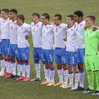 Hesir ellivu byrjaði inni í dystinum móti Armenia í juni, har Føroyar vunnu 2-0 (Mynd: Sverri Egholm)