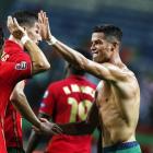 Ronaldo fegnast eftir sigurin og metið (Mynd: EPA)